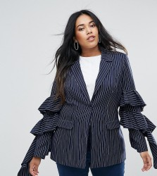 Unique 21 Hero Plus Pinstripe Blazer With Ruffle Sleeves Co-Ord - Navy