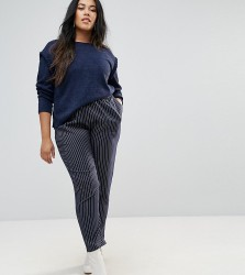 Unique 21 Hero Plus Pinstripe Trousers With High Waist Co-Ord - Navy