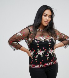 Unique 21 Hero Plus Sheer Blouse With Floral Embroidery - Black