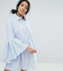 Unique 21 Hero Plus Shirt Dress with Fluted Sleeves - Blue
