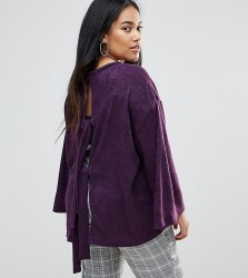 Unique 21 Hero Plus Tie Back Jumper With Fluted Sleeves - Purple