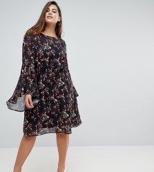 Unique 21 Hero Smock Dress With Frill Sleeve In Autumn Blossom Print - Black