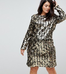 Unique 21 Hero Trophy Dress In All Over Mixed Sequin - Gold