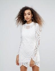 Unique 21 High Neck Lace Bodycon Dress - Cream