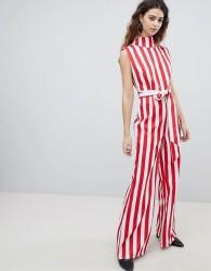 Unique 21 High Neck Wide Leg Jumpsuit In Stripe - Multi