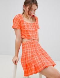 Unique 21 Pleated Mini Skirt In Check Co-Ord - Orange