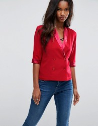Unique 21 Sateen Contrast Short Sleeve Blazer Jacket - Red