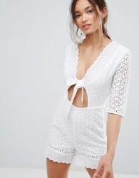 Unique 21 Tie Front Crochet Playsuit - White