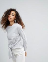 Unique 21 Tie Front Long Sleeve T-Shirt - Grey