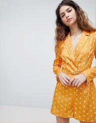 Unique 21 Tuxedo Playsuit In Spot Print - Orange