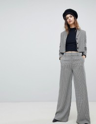Unique 21 Wide Leg Trouser In Dogtooth Co-Ord - Multi