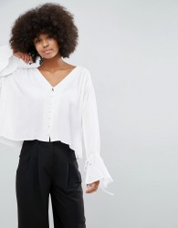 Unique21 Blouse With Exaggerated Sleeves - White