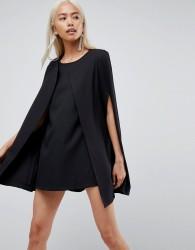 Unique21 Cape Shift Dress - Black