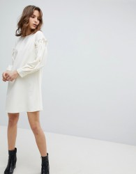 Unique21 Dress With Frill Sleeve - White