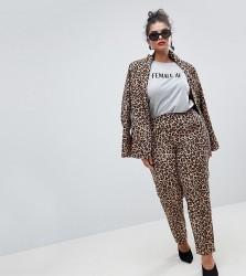 UNIQUE21 Hero Plus Cigarette Trousers In Leopard Print Co-Ord - Multi