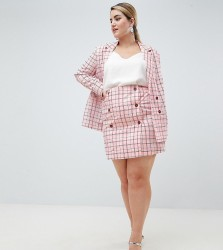 UNIQUE21 hero plus high waist double breasted mini skirt in pink check co-ord - Pink