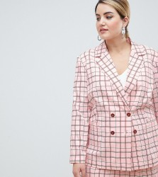 UNIQUE21 hero plus longline double breasted blazer in pink check co-ord - Pink