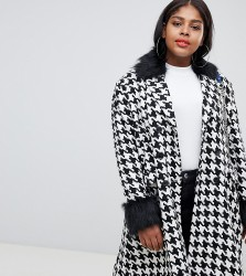 UNIQUE21 Hero Plus oversized car coat in dogtooth with faux fur collar and cuffs - Multi