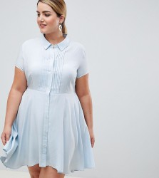UNIQUE21 hero plus short sleeved shirt dress with pleated skirt - Blue