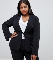 UNIQUE21 Hero Plus tie front blazer co-ord - Black