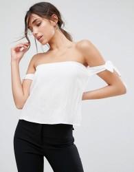 Unique21 Off The Shoulder Tie Blouse - White