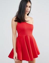Unique21 One Shoulder Skater Dress - Red