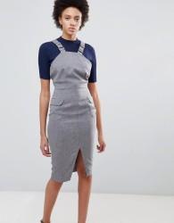 Unique21 Pencil Dress With Side Split - Grey