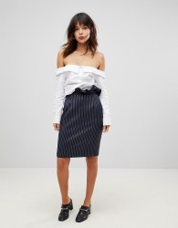 Unique21 Pinstripe Pencil Skirt With Frill Waist - Navy