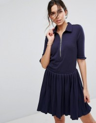 Unique21 Pleated Shirt Dress With Zip - Navy