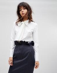Unique21 Shirt With Bow Tie Neck - White