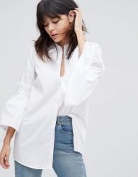 Unique21 Shirt With Frill Sleeve - White