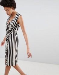 Unique21 Striped Belted Wrap Dress - Black