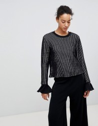 Unique21 Striped Jumper With Frill Sleeves - Black