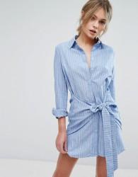 Unique21 Waist Tie Shirt Dress - Blue