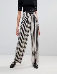 Unique21 Wide Leg Striped Trouser - Black