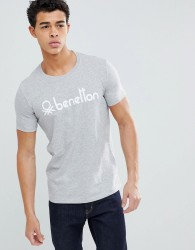 United Colors of Benetton Crew Neck T-Shirt with Benetton Logo - Grey