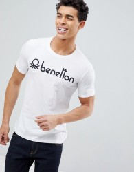 United Colors of Benetton Crew Neck T-Shirt with Benetton Logo - White