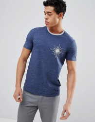 United Colors of Benetton Crew Neck T-Shirt With Compass Print - Blue