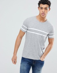 United Colors of Benetton Crew Neck T-shirt with Double chest stripe - Grey