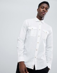United Colors of Benetton Linen Mix Shirt in White - White