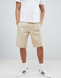 United Colors Of Benetton Linen Shorts In Beige - Stone