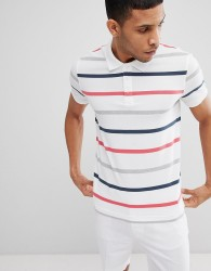United Colors of Benetton Polo in White With 3 Colours Stripe - Multi