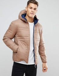 United Colors of Benetton Reversible Down Padded Jacket With Hood - Beige