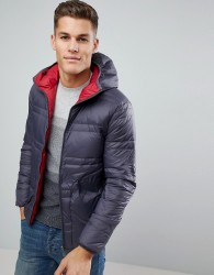 United Colors of Benetton Reversible Down Padded Jacket With Hood In Grey/Red - Black