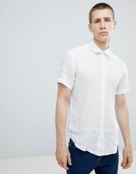 United Colors Of Benetton Short Sleeve Linen Shirt - White