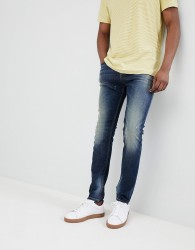 United Colors of Benetton Skinny Fit Jeans with Abrasions in Mid Wash - Blue