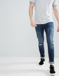 United Colors of Benetton Slim Fit with Rips in Mid Wash - Blue