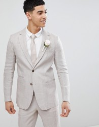 United Colors Of Benetton Wedding Regular Fit Linen Suit Jacket In Stone - Stone