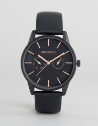 UNKNOWN Engineered Leather Watch In Black - Black