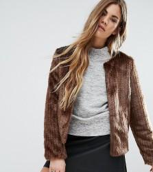 Unreal Fur Collarless Dream Jacket - Brown